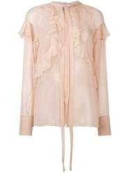 Givenchy Sheer Ruffle Detail Blouse Nude And Neutrals