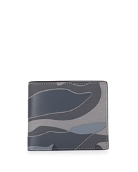 Valentino Camo Leather Bi Fold Wallet Stone