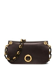 Michael Kors Leather Flap Chain Shoulder Bag Coffee