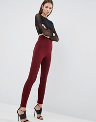 Asos Textured Legging With Panels Burgundy