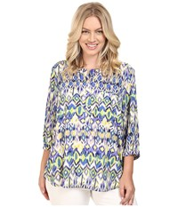 Nydj Plus Size Solid 3 4 Sleeve Pleat Back Ivory Coast Ikat Blue Women's Long Sleeve Button Up