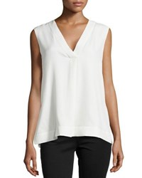 Armani Collezioni Sleeveless Silk Tunic With Side Slits Ivory