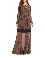 Bcbgeneration Printed Long Sleeve Gown Auburn