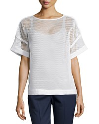 Lafayette 148 New York Mesh Short Sleeve Blouse White