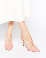 New Look T Bar Pointed Toe Heeled Shoes Rose