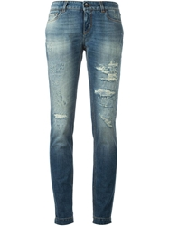 Dolce And Gabbana Ripped Skinny Jeans Blue