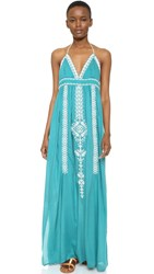 Star Mela Alva Maxi Dress Petrol Ecru