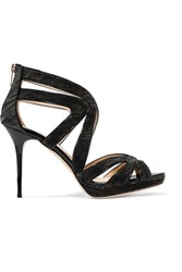 Jimmy Choo Metallic Mesh Sandals Black
