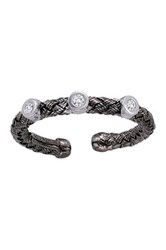 Meshmerise Sterling Silver Diamond Station Braided Mesh Ring 0.05 Ctw Metallic