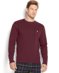 Polo Ralph Lauren Men's Tipped Thermal Crew Neck Shirt Classic Wine