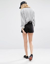 Dr. Denim Dr Denim High Waist Ripped Denim Shorts With Roll Up Hem Black