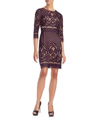Gabby Skye Jewelneck Lace Embroidered Dress Aubergine
