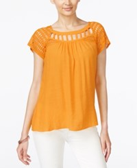 Ny Collection Lace Trim Lattice Neck Top Cadmium Yellow