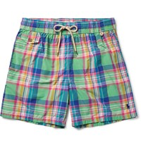 Polo Ralph Lauren Traveler Mid Length Plaid Cotton Blend Swim Shorts Green