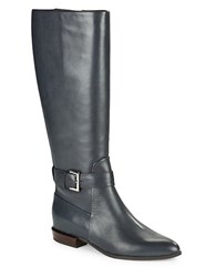 Nine West Diablo Leather Knee High Boots Navy Blue