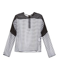 Anthony Vaccarello Striped Sheer Silk Mousseline Top