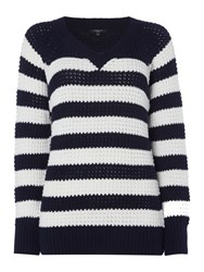 Therapy Arlo Crossover V Fisherman Jumper Navy And White Navy And White