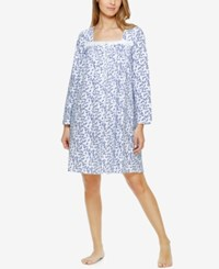Eileen West Lace Trimmed Printed Knit Nightgown Blue Leaves