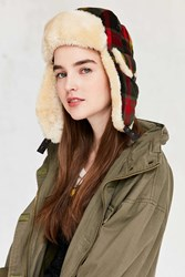 Woolrich Plaid Wool Trapper Hat Red
