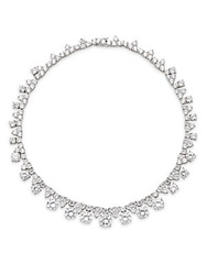 Cz By Kenneth Jay Lane Graduated Triplet Station Necklace Silver