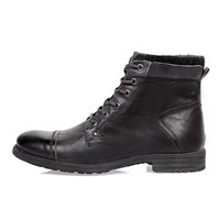 River Island Mens Grey Leather Worker Boots