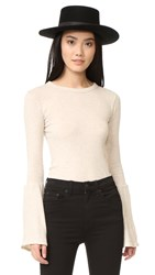 Enza Costa Bell Sleeve Crew Top Oatmeal