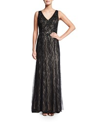 Aidan Mattox Sleeveless V Neck Beaded Lace Gown Black Nude