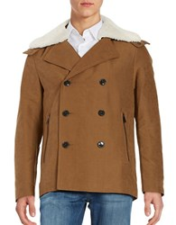 Michael Kors Shearling And Coyote Fur Trimmed Coat Vicuna
