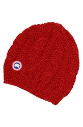 Canada Goose Women's Cable Knit Merino Wool Beanie Red