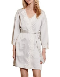 Lauren Ralph Lauren Signature Collection Satin Wrap Robe Grey