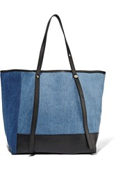 See By Chloe Textured Leather Trimmed Denim Tote