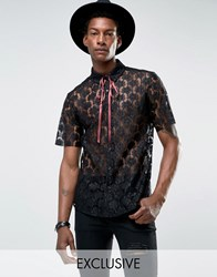 Reclaimed Vintage Lace Shirt With Neck Tie In Reg Fit Black