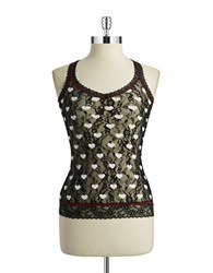 Dkny Patterned Lace Camisole Black Heart Print