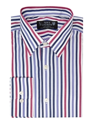 New And Lingwood Bowes Bold Wide Stripe Shirt Navy