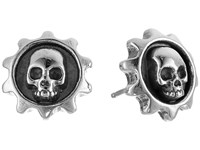 King Baby Studio Gear Skull Post Earrings Silver Earring
