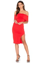 Lavish Alice Deep Bandeau Asymmetric Hem Midi Dress Red