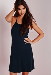 Missguided Strappy Back Skater Dress Navy Blue