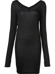 Isabel Benenato V Neck Long T Shirt Black