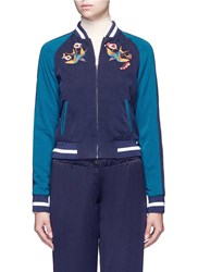 Elizabeth And James 'Willa' Reversible Swallow Floral Embroidered Bomber Jacket Blue Multi Colour
