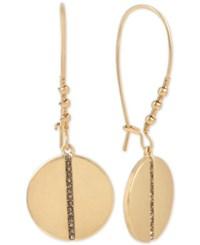Kenneth Cole New York Gold Tone Pave Row Disc Drop Earrings Black