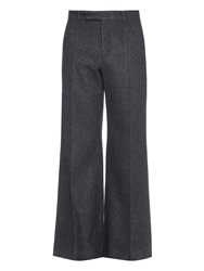 Raey Low Rise Wide Leg Donegal Tweed Trousers
