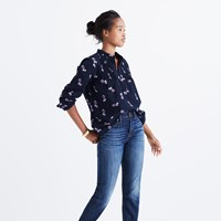Madewell Pintuck Popover Shirt In Pansy Bouquet