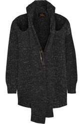 Vivienne Westwood Cutout Chunky Knit Cotton Cardigan Gray
