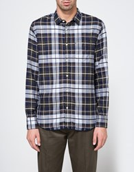 Officine Generale Lipp Pipping Italian Twill Plaid Navy Olive