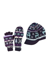 Muk Luks Visor Beanie And Flip Gloves With Fur Lining Set Multi
