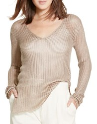 Polo Ralph Lauren Open Knit V Neck Sweater Champagne