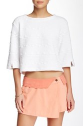 Michael Stars Wide Sleeve Crop Top White