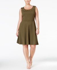 Love Squared Trendy Plus Size Grommet Trim Fit And Flare Dress Olive