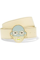 Stella Mccartney Enameled Faux Leather Belt White