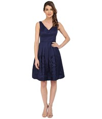 Maggy London Scroll Border Jacquard Fit And Flare Dress Galaxy Blue Women's Dress